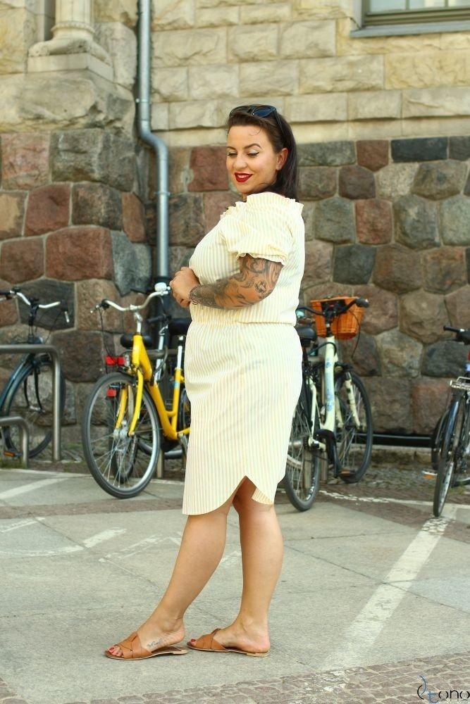 Yellow-White Dress ALINE Plus Size
