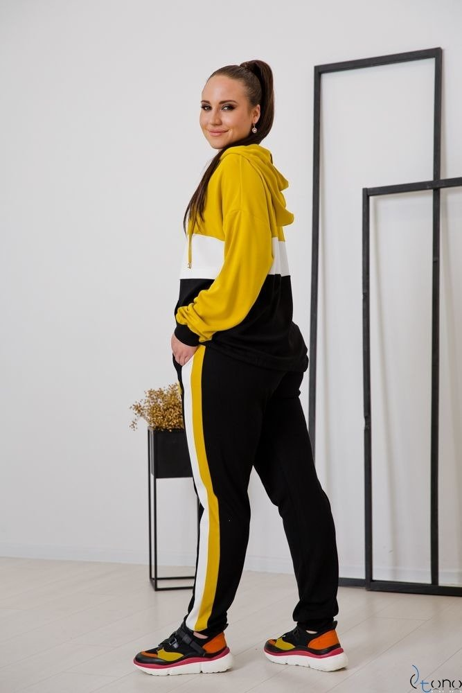 Black-Yellow Tracksuit TRIPLE Plus Size