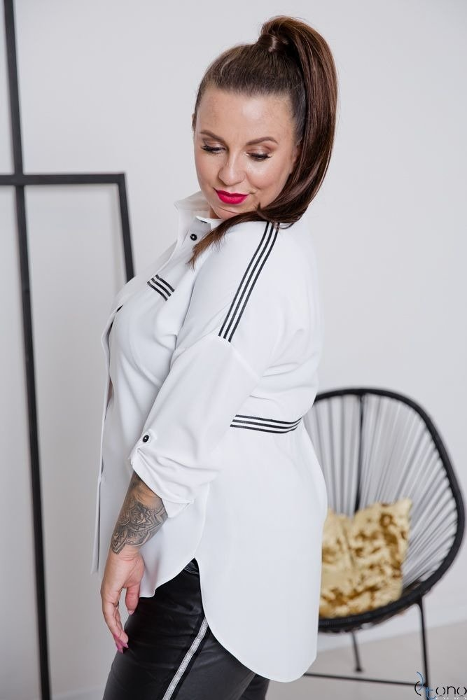 Biała Koszula ERINA Plus Size Koszule ✅ TONO  oJ1cp