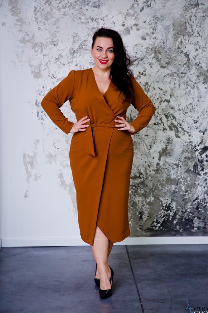 1d9fca89af Camelowa Sukienka FERRONA Plus Size ✅ darmowy odbiór w punckie i ...