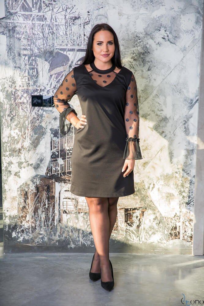 b5fa7fd9b8 Czarna Sukienka CASCADA Plus Size Wizytowa wzór 2 ✅ darmowy odbiór ...