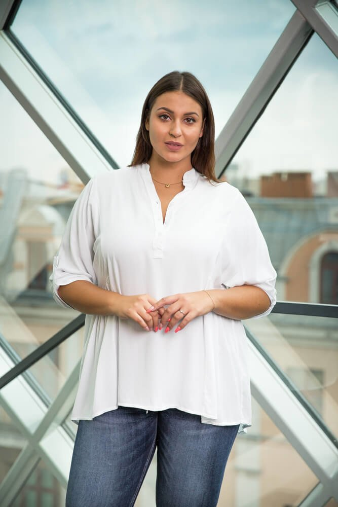 U21 KOSZULA BIAŁA KLASYCZNA KRAWAT DAMSKA Koszule ✅ TONO