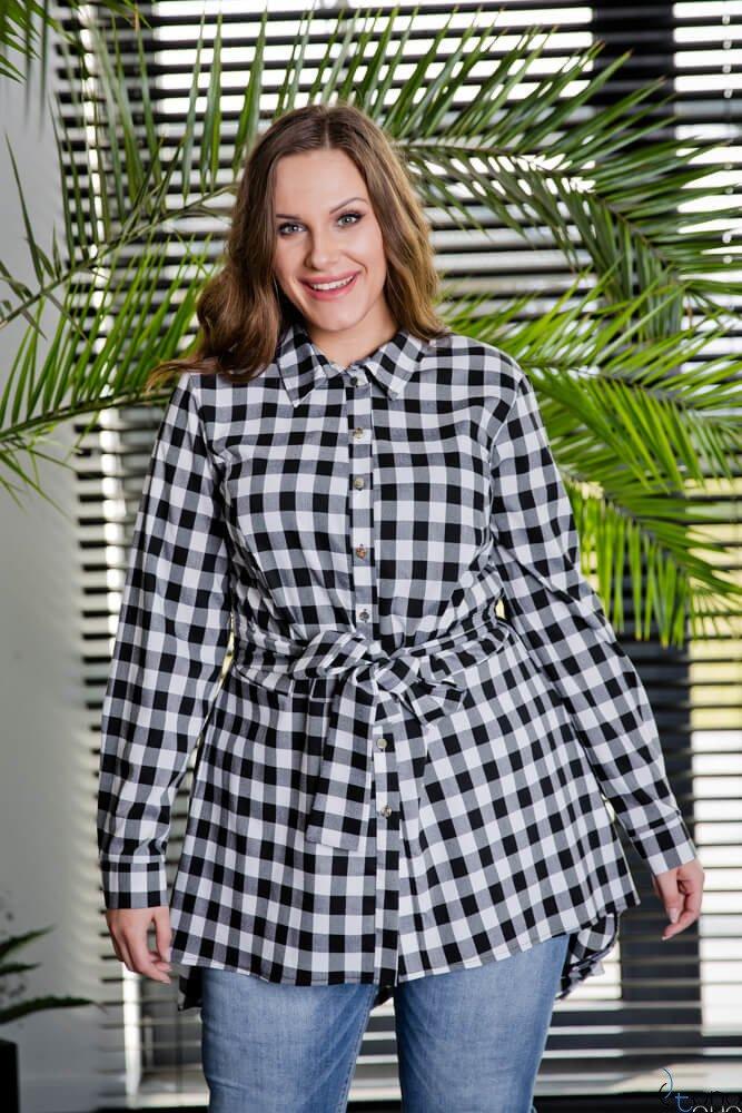 Biało czarna Koszula damska LANICA Plus Size Koszule ✅ TONO  GuKhV