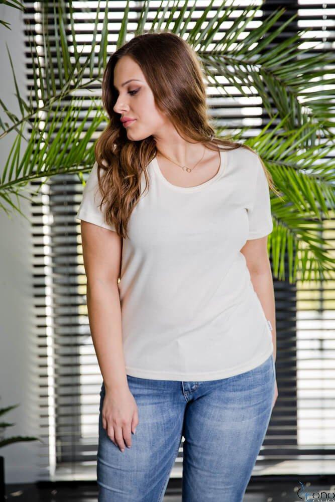 25db25277a59b8 ... Bluzka damska Ecru DETRRA T-Shirt Plus Size Kliknij, aby powiększyć ...