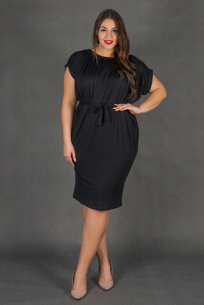 76a21cd72f Czarna Sukienka SEMPRE Plus Size Drapowana ✅ darmowy odbiór w ...