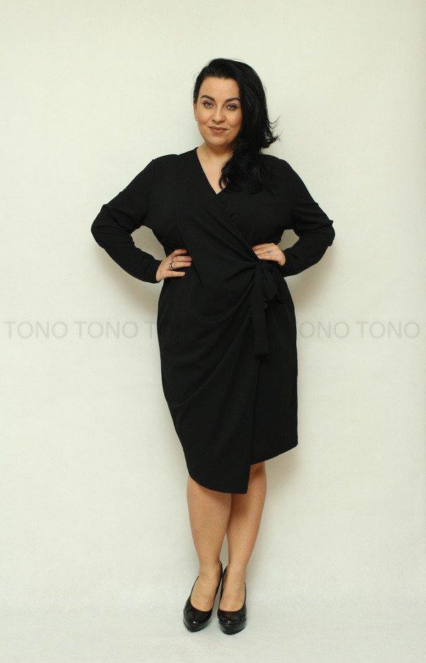 f94c566878 Czarna sukienka damska RAMONA wiązana Plus Size ✅ darmowy odbiór w ...