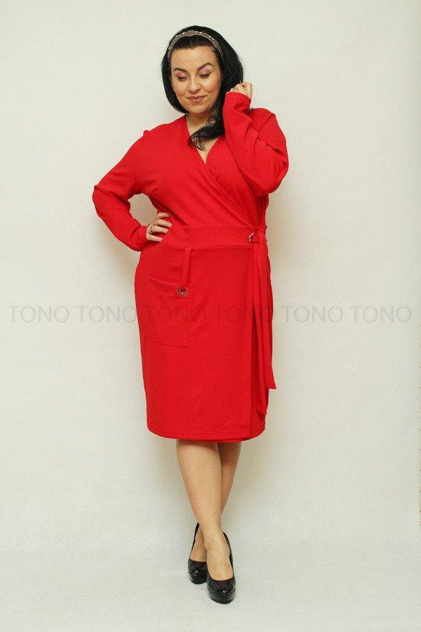829b97bc4f Czerwona sukienka damska KIMBERLY kopertowa Size Plus ✅ darmowy ...