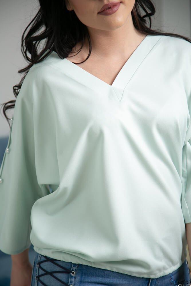 142599dec0 Miętowa Bluzka PERSY Plus Size Elegancka ✅ darmowy odbiór w punckie ...