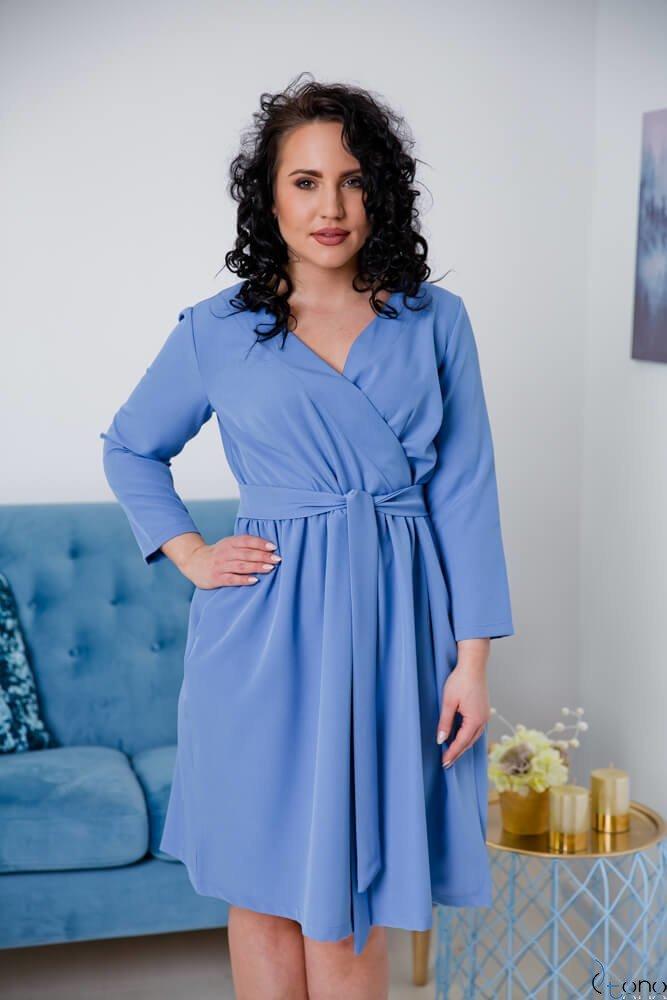 842cfe565e Niebieska Sukienka MAKAN Kopertowa Plus Size ✅ darmowy odbiór w ...