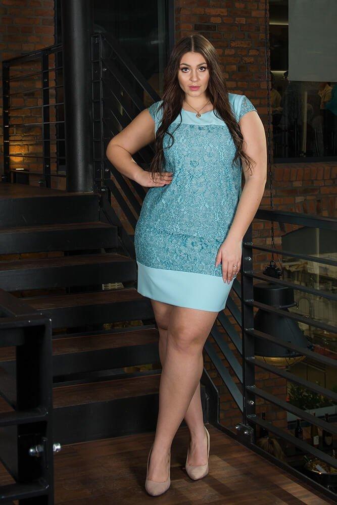 b466544e3e Niebieska sukienka koronkowa RALL Duże rozmiary ✅ darmowy odbiór w ...