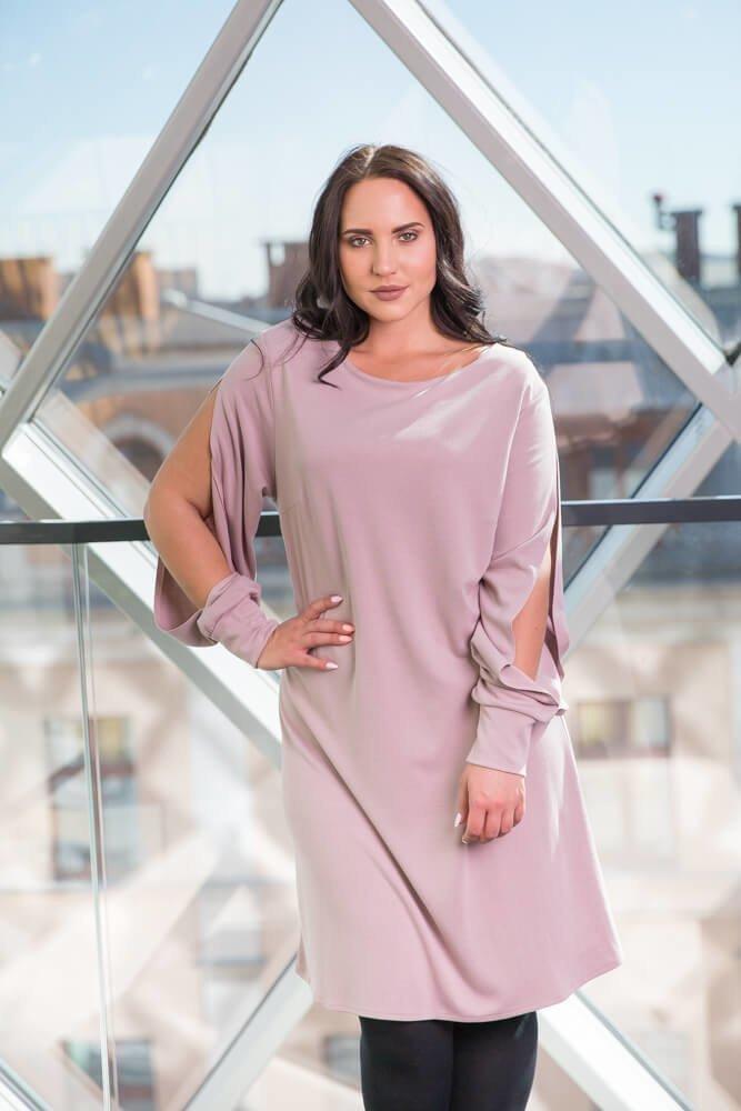 f398c92728 Różowa Sukienka VIENNA Plus Size Trapezowa ✅ darmowy odbiór w ...