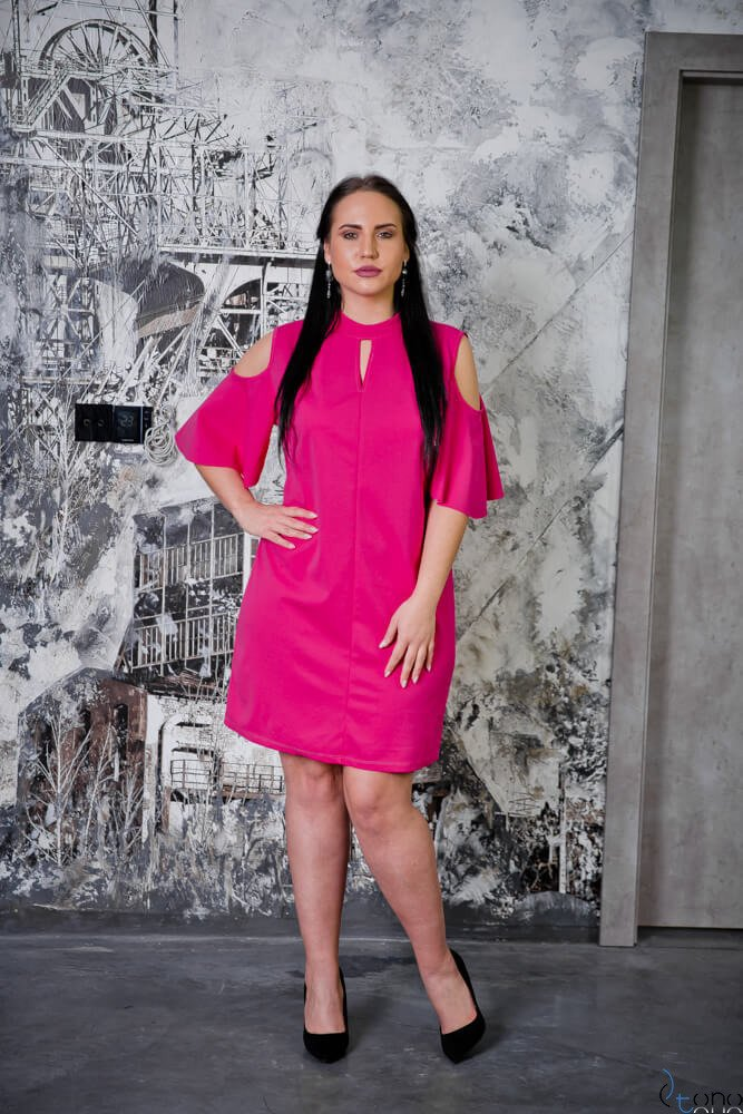 bbc2eed1 Sukienka ABRAZZA Fuksja Plus Size