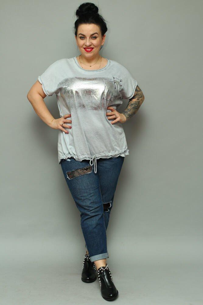 60f60dcc Szara bluzka damska NOVARA T-shirt Plus Size