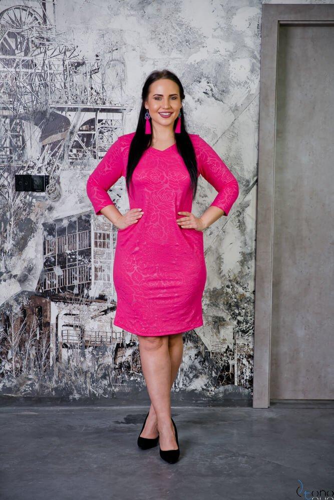 Różowa Sukienka ROZALY Plus Size