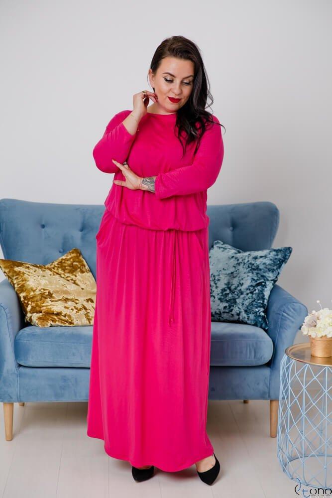 Amarantowa Sukienka MEFFI Plus Size Maxi