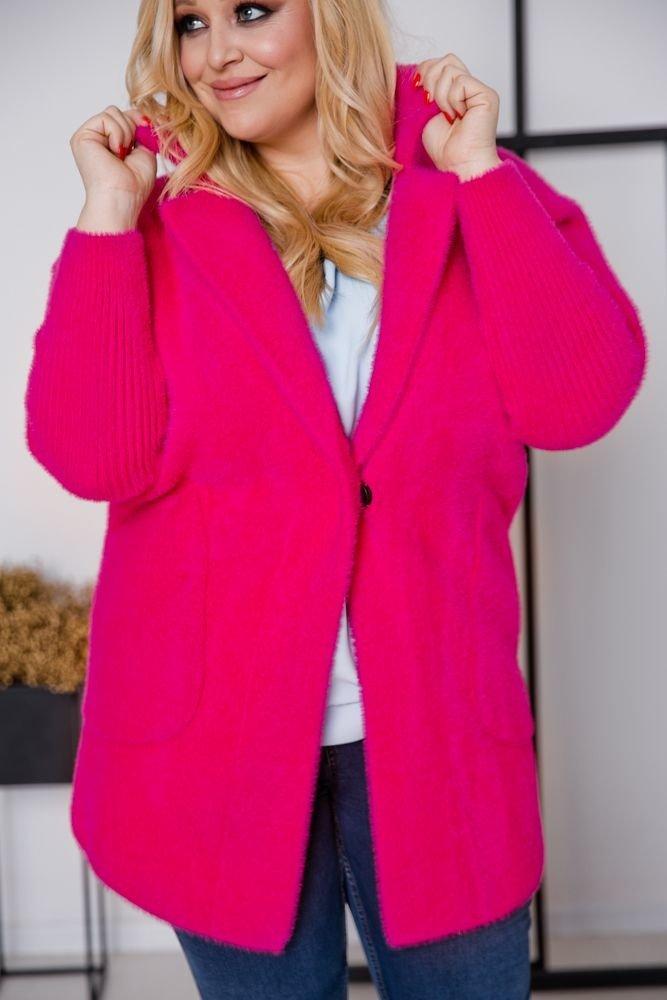 Amarantowy Płaszcz MIKKO Plus Size