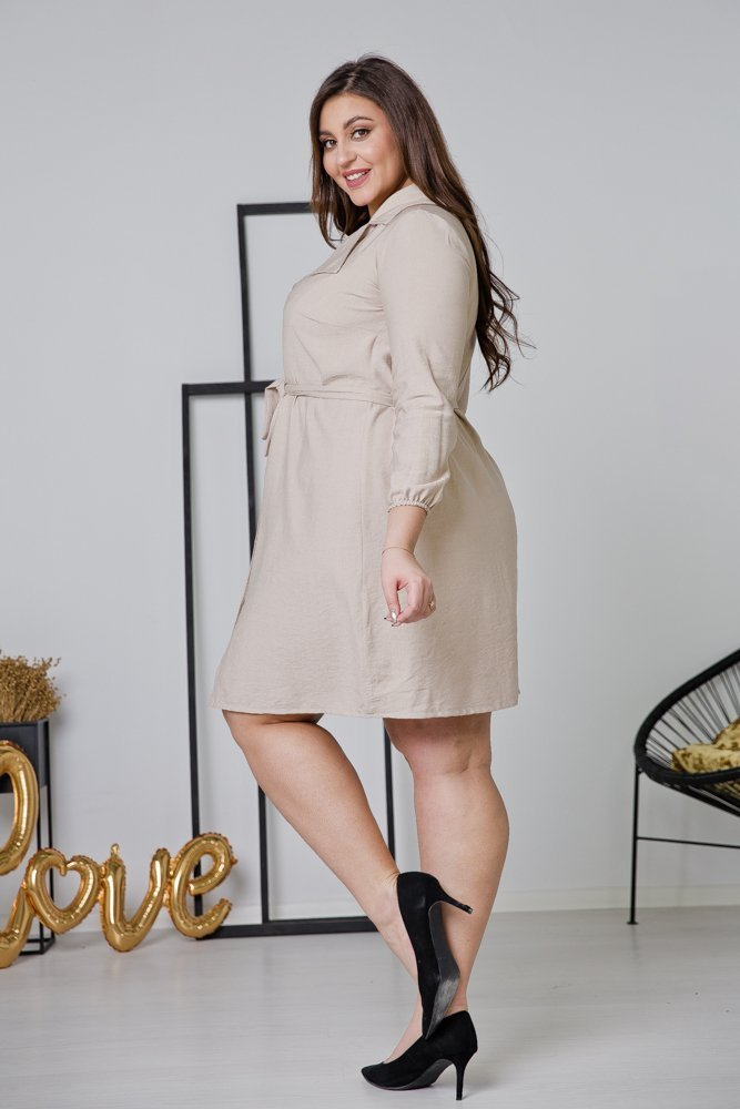 Beżowa  Sukienka MERTA Plus Size