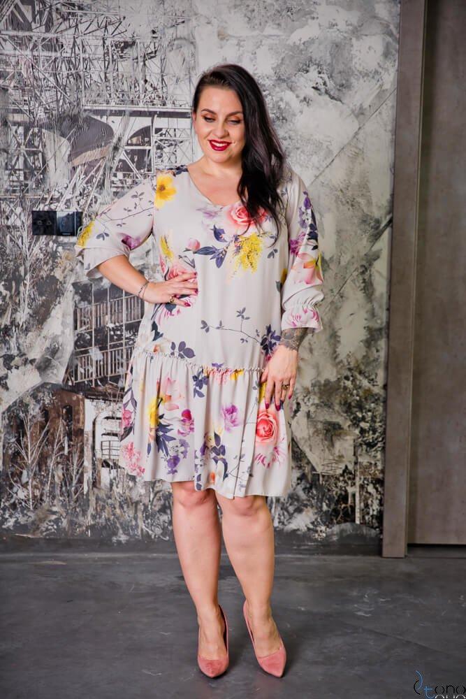 Beżowa Sukienka SARA Plus Size