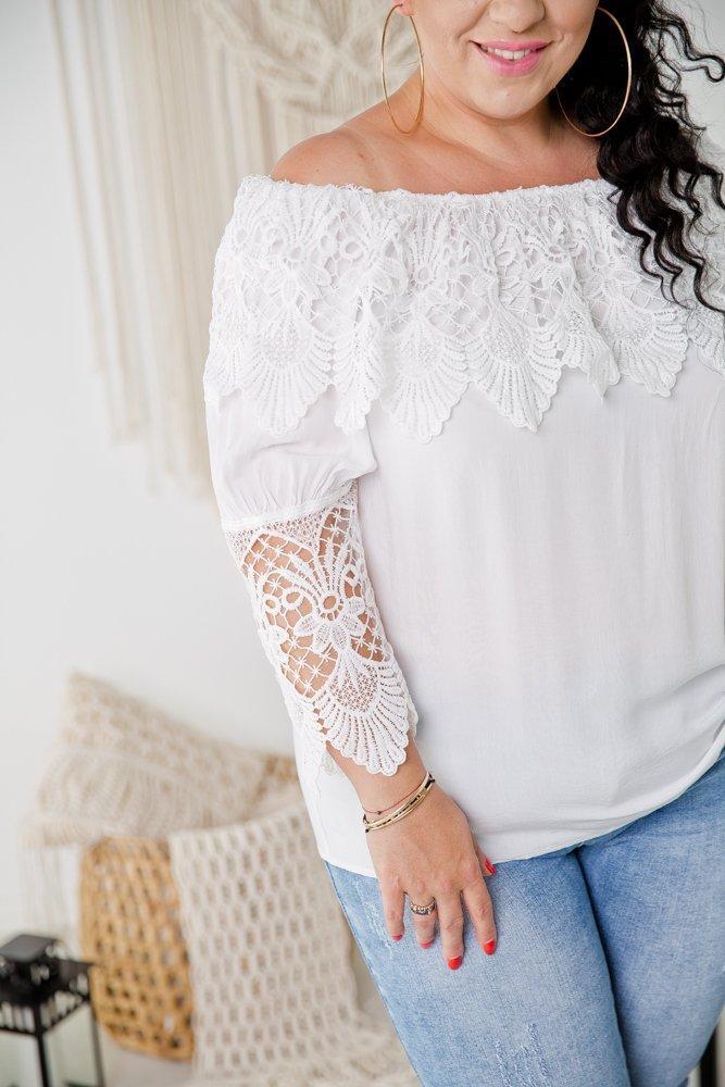 Biała Bluzka KORTNI Plus Size