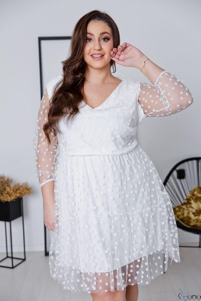 Biała Sukienka MATTIA Plus Size