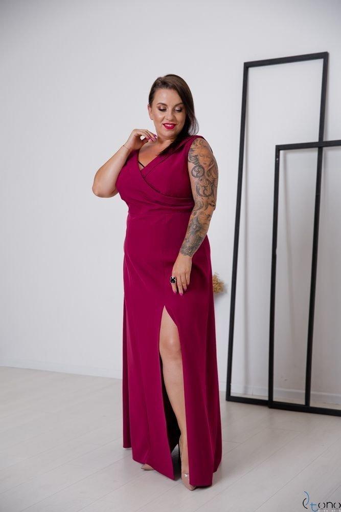 Bordowa Sukienka BEATRIZ Plus Size Maxi
