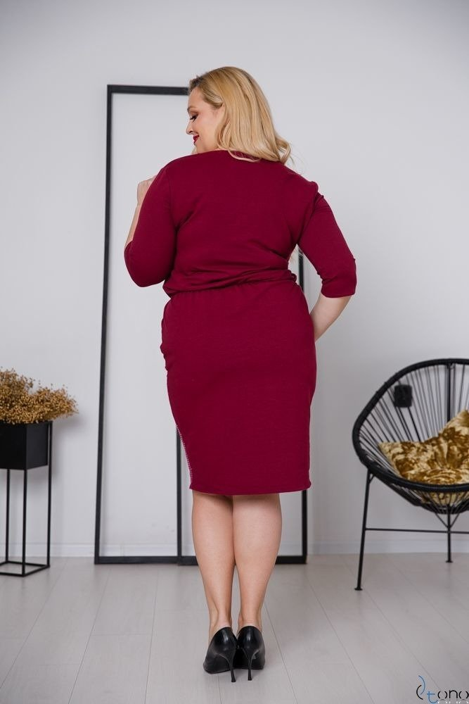 Bordowa Sukienka GRASSINA Plus Size
