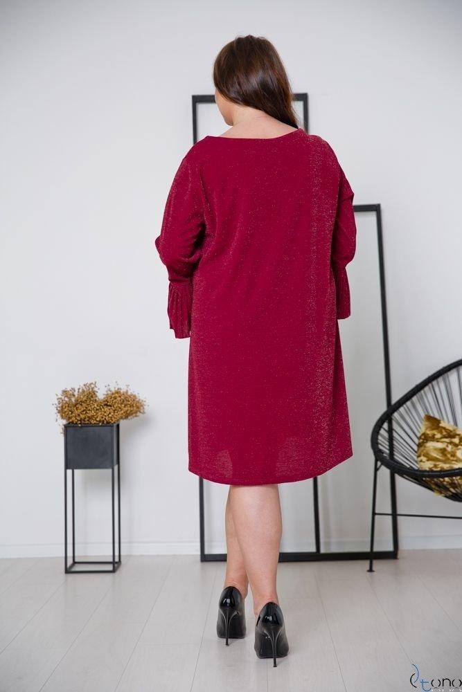 Bordowa Sukienka NESIA Plus Size
