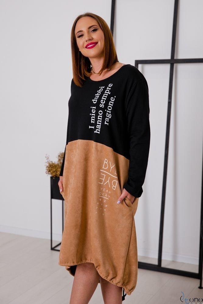 Camelowa Sukienka DUBBI Plus Size