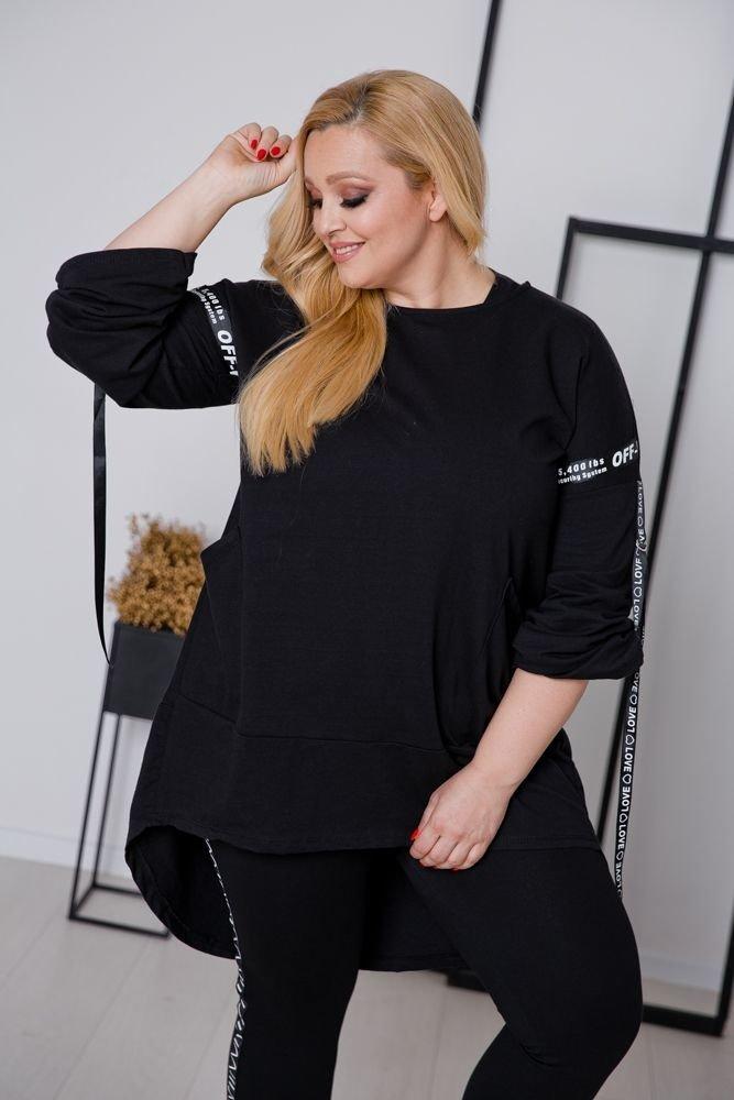 Czarna Bluza SKILS Plus Size