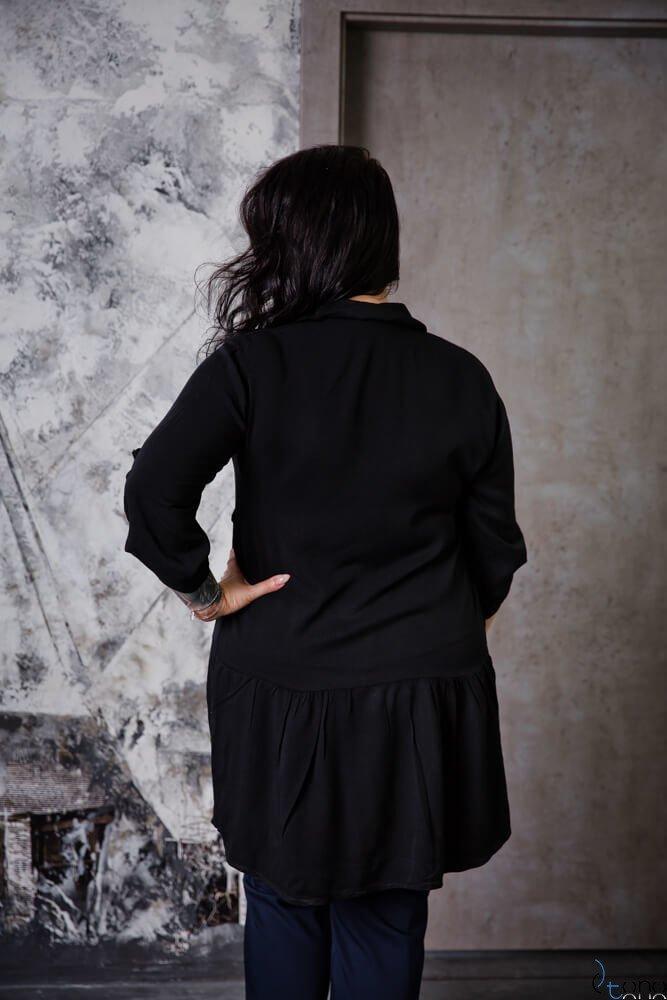 Czarna Bluzka TERMINA Plus Size