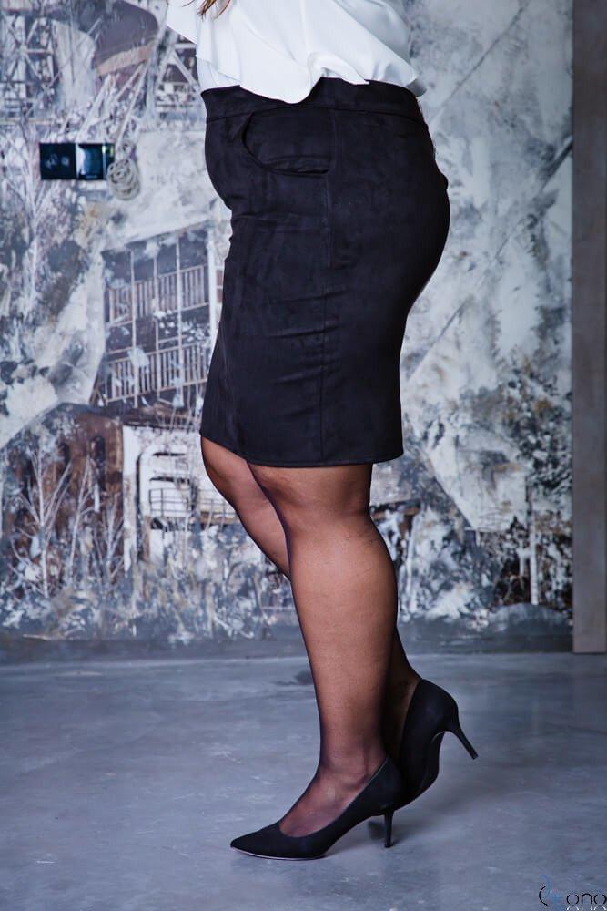 Czarna Spódnica BONNY Zamsz Plus Size