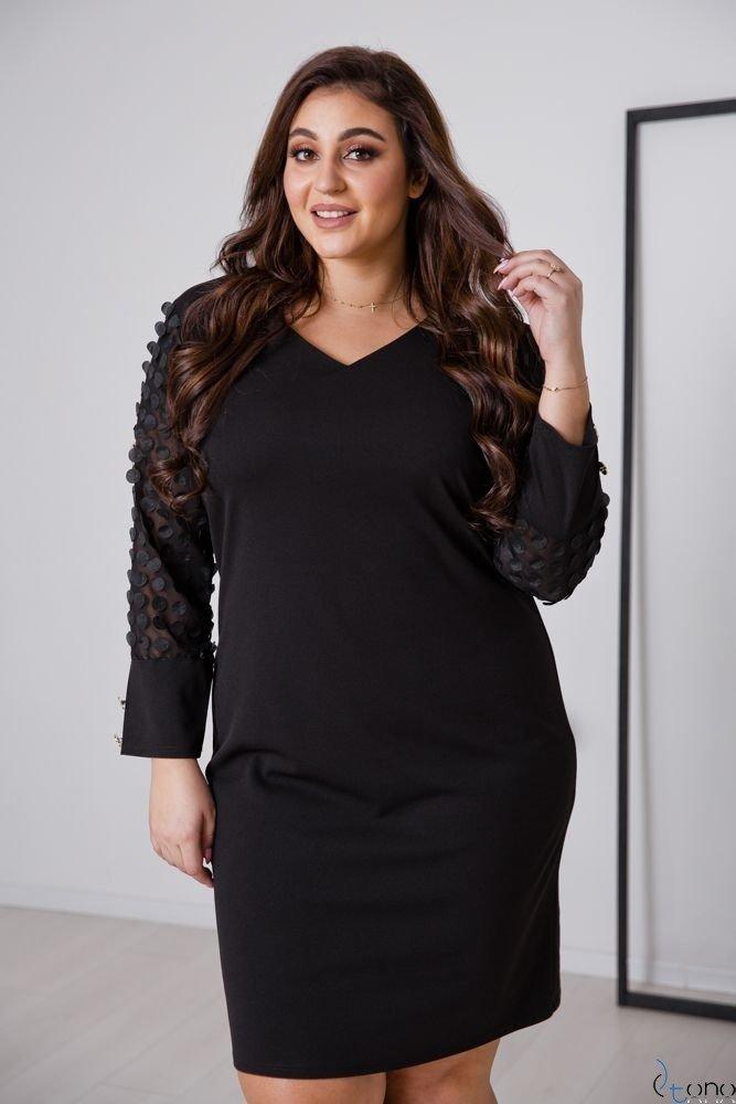 Czarna Sukienka BOFFINA Plus Size Wzór 2