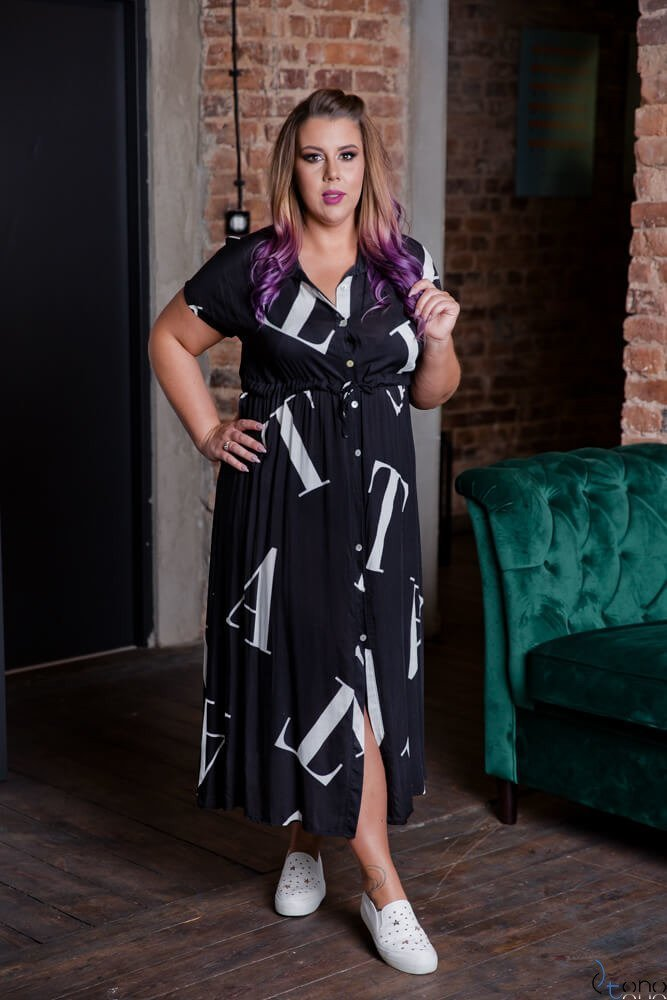 Czarna Sukienka MALOS Plus Size