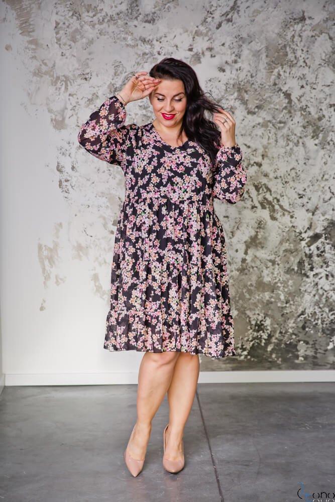 Czarna Sukienka MELBERN Kwiaty Plus Size
