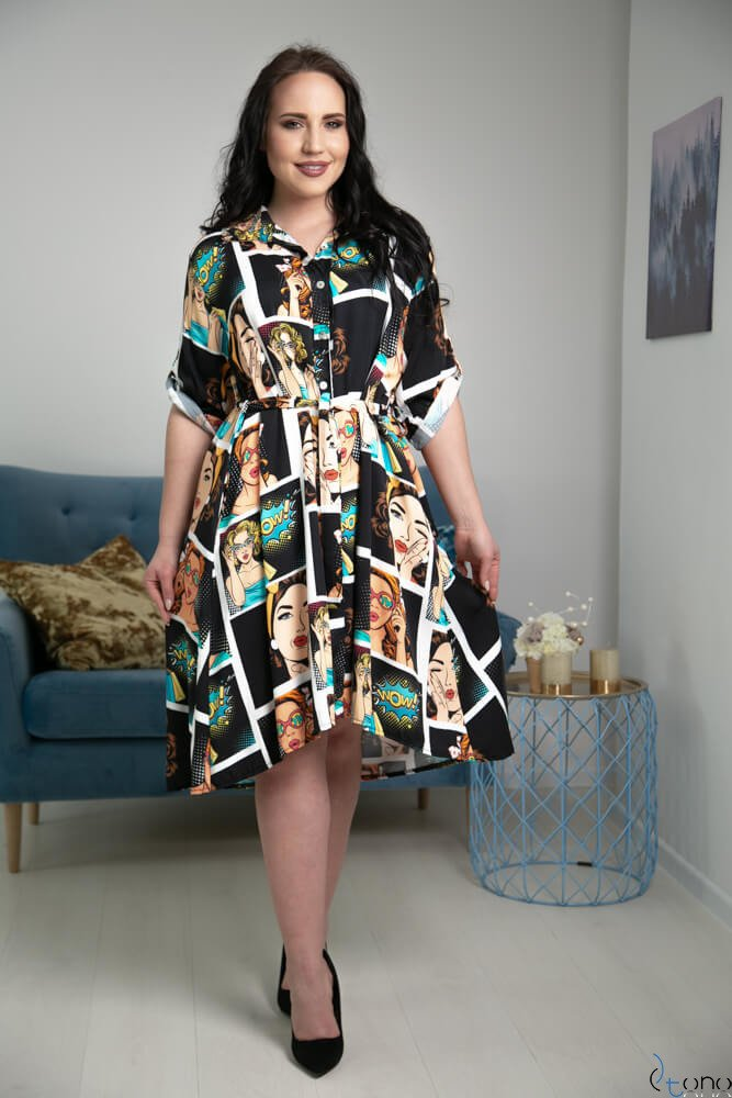 Czarna Sukienka PETRONA Plus Size Szmizjerka