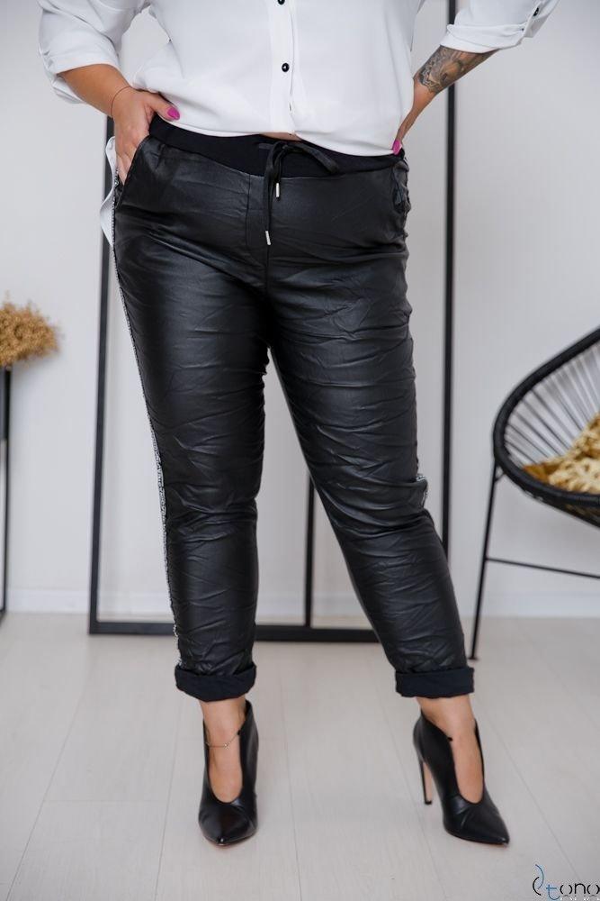 Czarne Spodnie PELLIS Plus Size Wzór 2