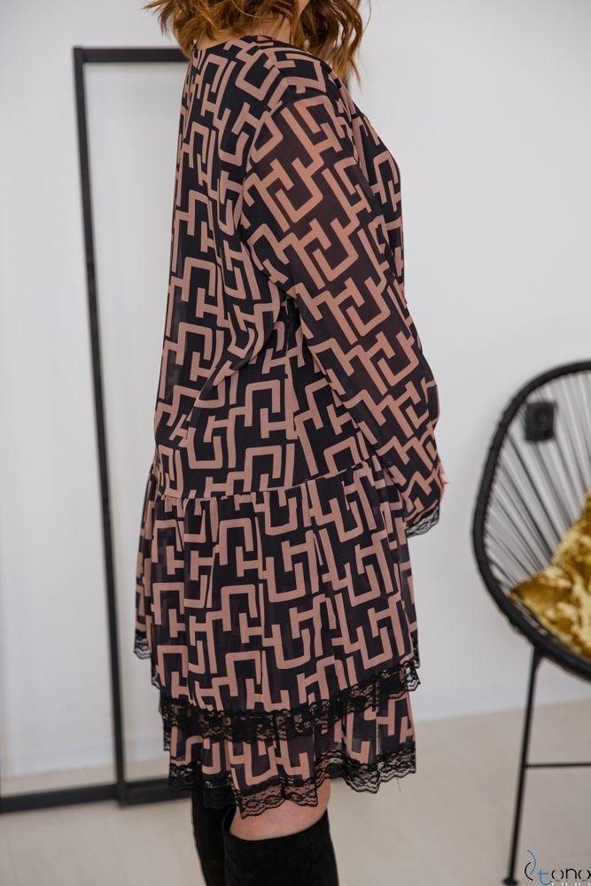 Czarno-Brązowa Sukienka COLLEGIA Plus Size
