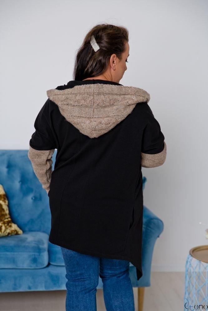 Czarno-Camelowy Kardigan COMESIA Plus Size