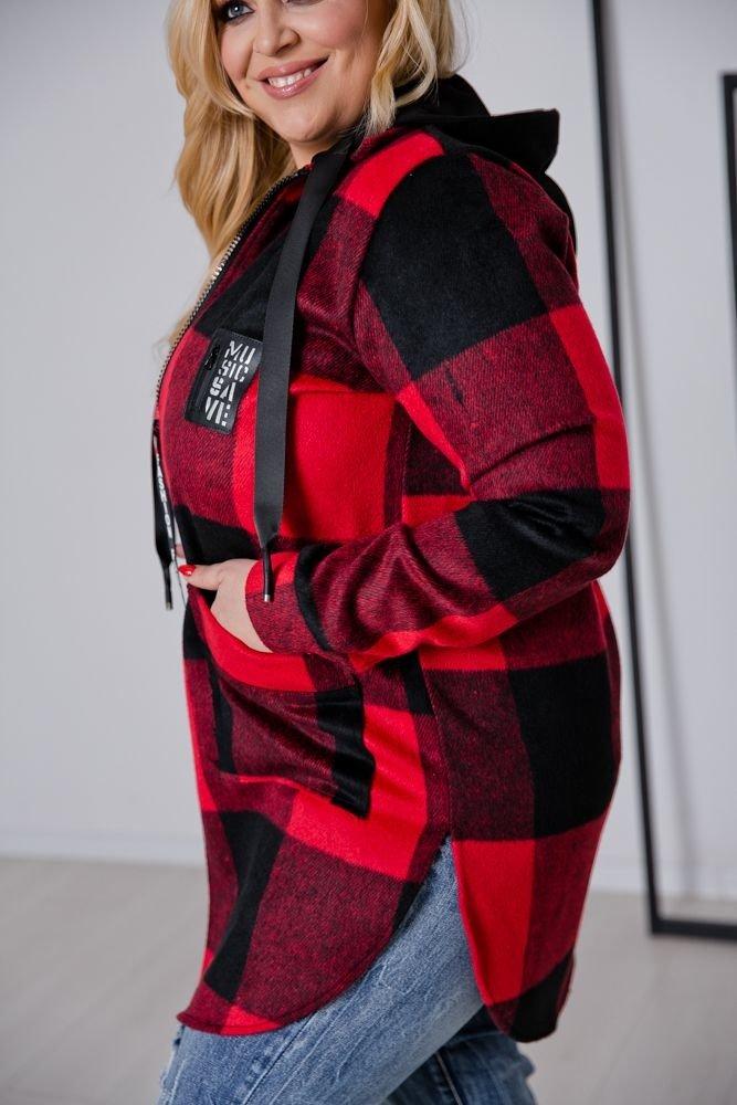 Czarno-Czerwona Kurtka URBANO Plus Size