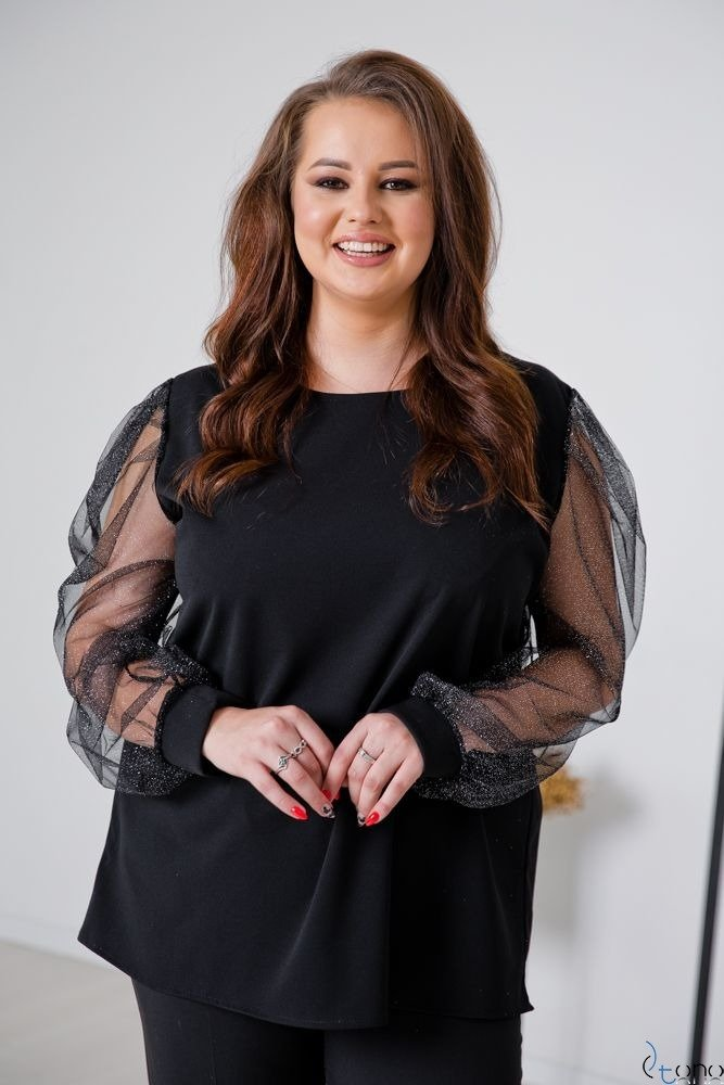 Czarno-Srebrna Bluzka NELMA Plus Size