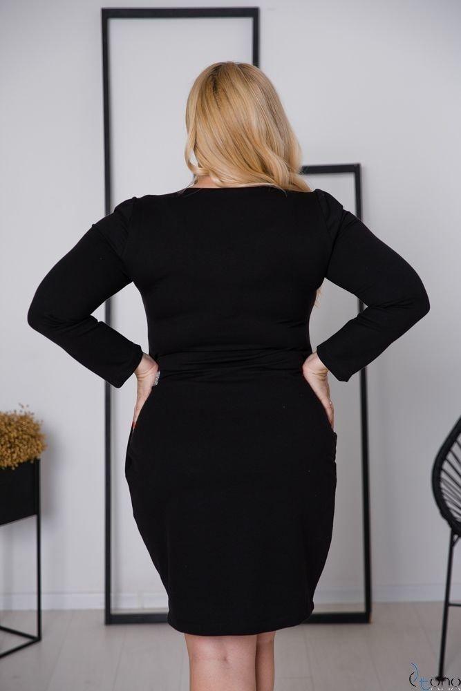 Czarno-Srebrna Sukienka ARYA Plus Size