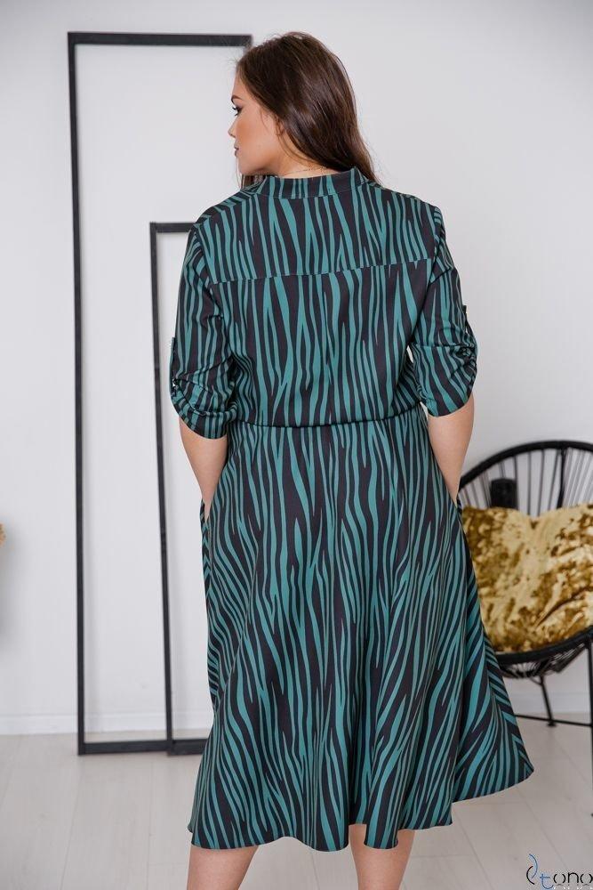 Czarno-Zielona Sukienka RAVELA Plus Size
