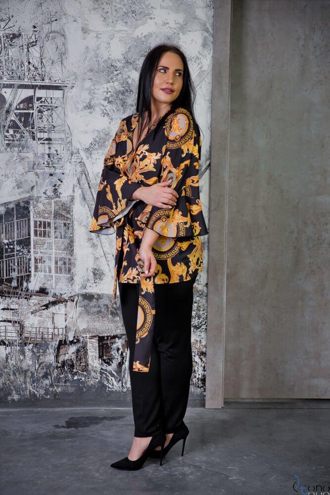 Czarno-złota Bluzka LARISS Plus Size