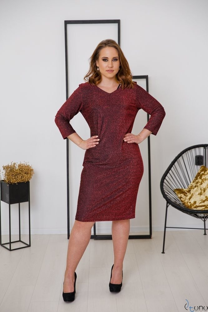Czerwona Sukienka LUCREZIA Plus Size