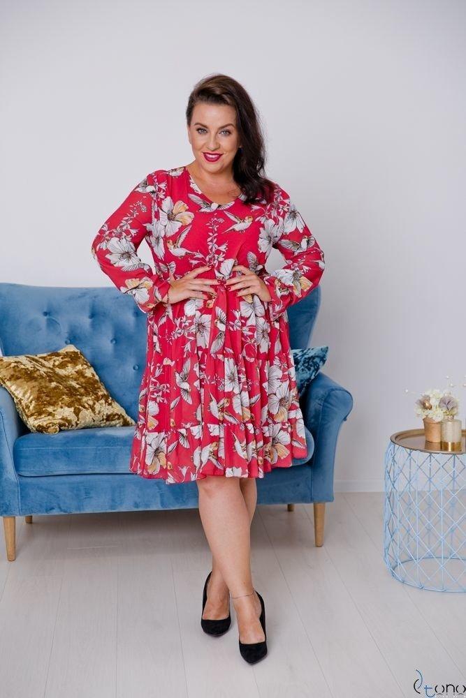 Czerwona Sukienka OCELIA Plus Size