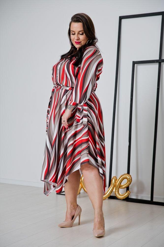 Czerwona Sukienka OFELIA Plus Size Wzór 1