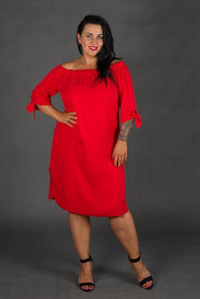 Czerwona Sukienka VALENCIA Hiszpanka Plus Size