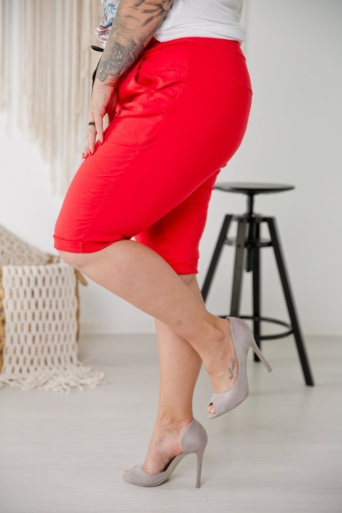 Czerwone Spodnie BULETY Plus Size