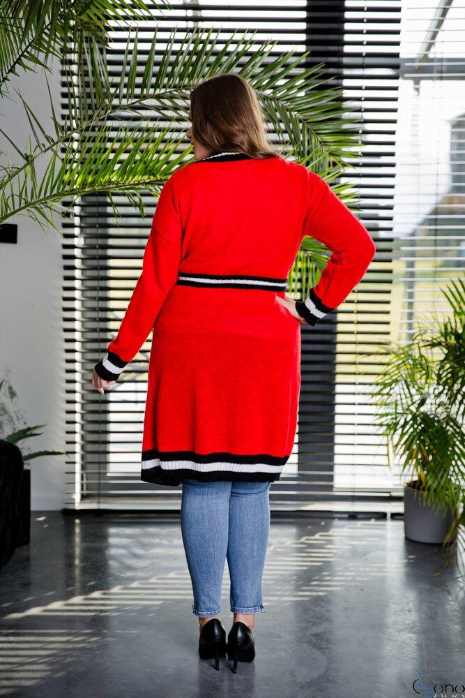 Czerwony Kardigan DELICE Plus Size