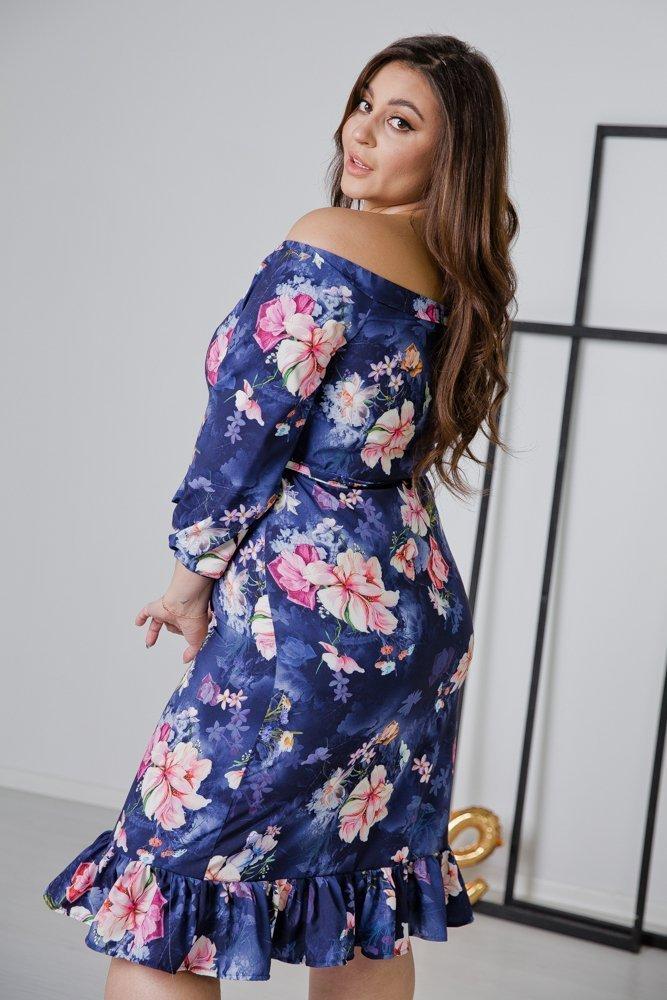 Fioletowa Sukienka ESPANA Plus Size Wzór 3